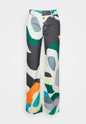 HIGH WAIST BOYFRIEND ABSTRACT ART PRINT - Jeans relaxed fit - multi