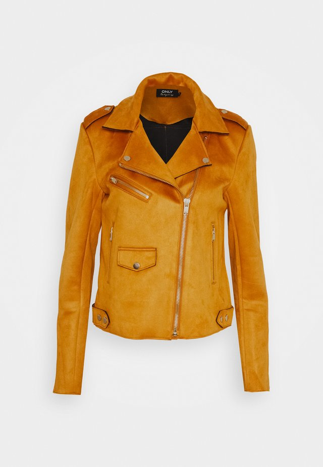 ONLSHERRY BONDED BIKER  - Faux leather jacket - pumpkin spice