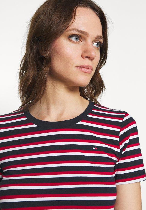 Tommy Hilfiger ESSENTIAL ROUND - T-shirt z nadrukiem - ombre/primary red W paski Odzież Damska PCSD UB 2