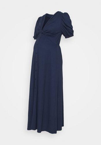TWIST FRONT MIDI DRESS WITH SHORT SLEEVES AND LOW V-NECK - Sukienka z dżerseju - navy