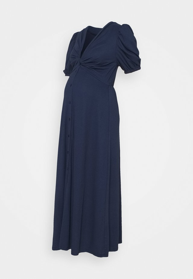 TWIST FRONT MIDI DRESS WITH SHORT SLEEVES AND LOW V-NECK - Robe en jersey - navy