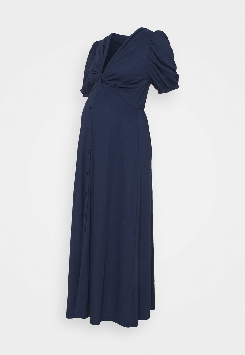 Glamorous Bloom - TWIST FRONT MIDI DRESS WITH SHORT SLEEVES AND LOW V-NECK - Jersey dress - navy