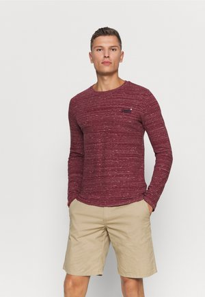 Long sleeved top - brick red space dye