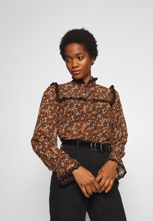 YASNOIDA - Button-down blouse - black/brown