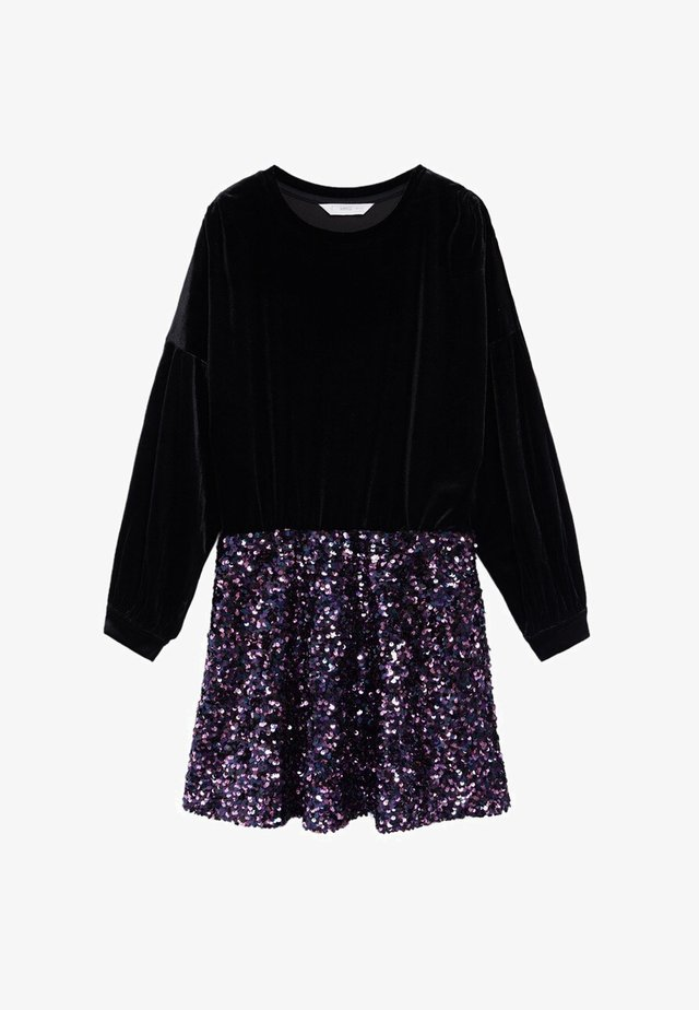 MET PAILLETTEN - Korte jurk - zwart