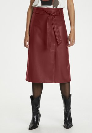 Leather skirt - madder brown