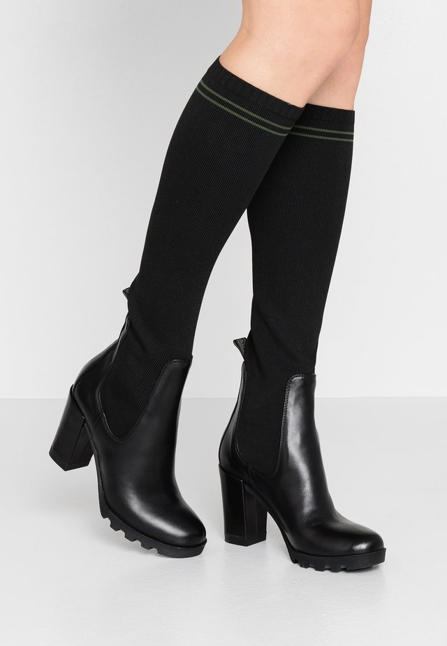 High heeled boots - nero/verde