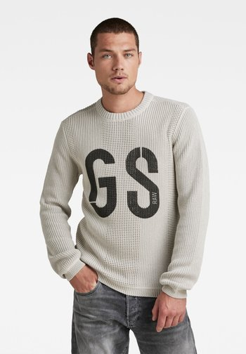 GS STRUCTURE KNITTED - Stickad tröja - whitebait/charcoal