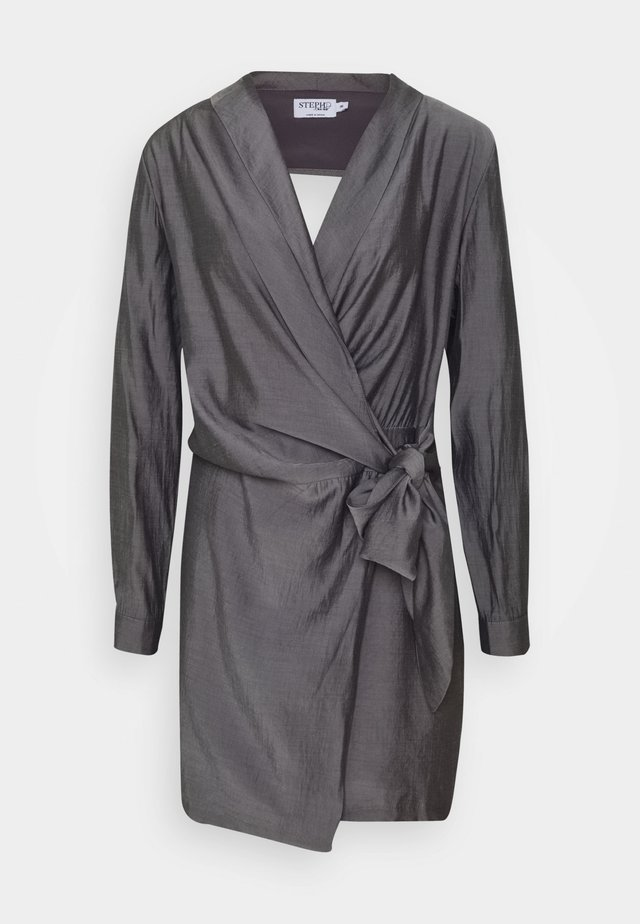 STEPHANIE DURANT OPEN BACK FRONT KNOT MINI DRESS - Robe fourreau - dark grey