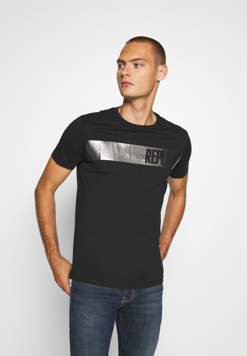 Replay - T-shirt con stampa - nearly black