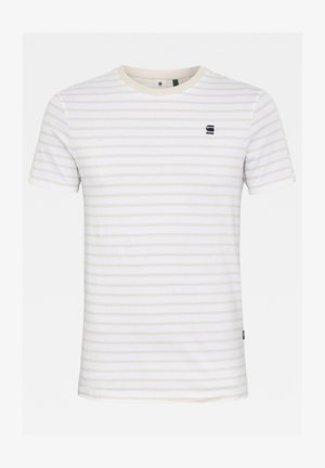 KORPAZ STRIPE GRAPHIC SLIM - Print T-shirt - white/whitebait stripe