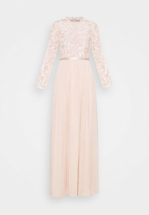SEQUIN RIBBON LONG SLEEVE DRESS - Suknia balowa - pink encore