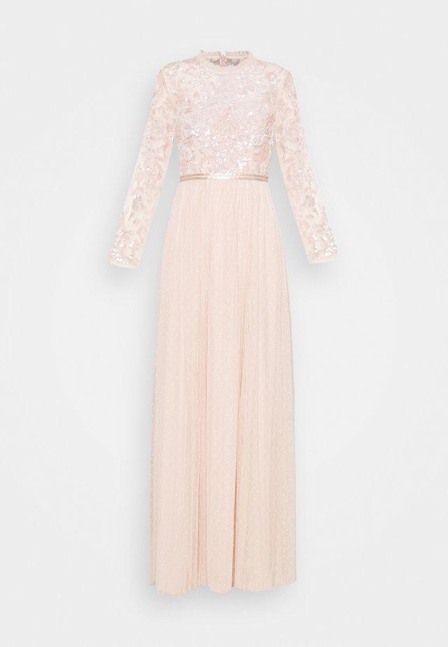 SEQUIN RIBBON LONG SLEEVE DRESS - Společenské šaty - pink encore