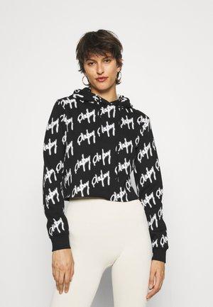 PLAYBOY GRAFFIFTI CROP HOODY - Sweatshirt - black