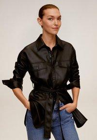 Mango - ANAIS - Faux leather jacket - schwarz - 0