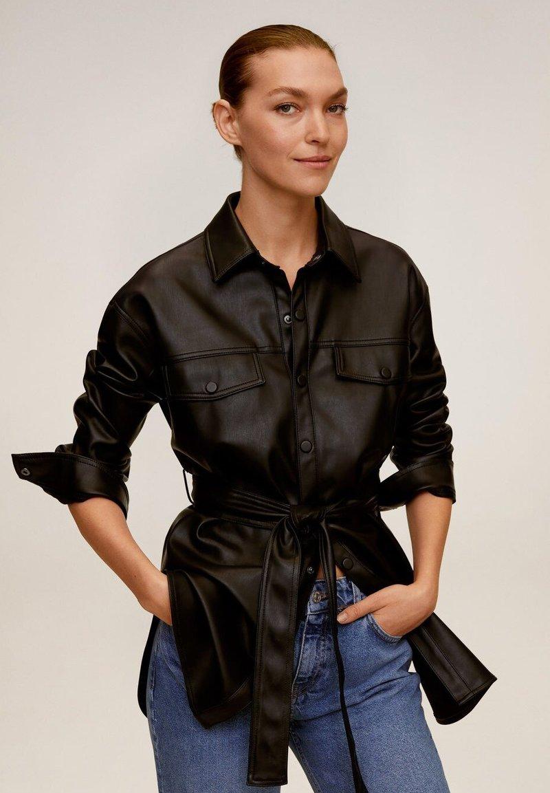 Mango - ANAIS - Faux leather jacket - schwarz