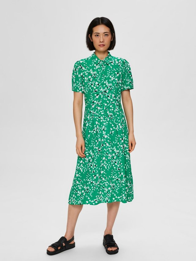 MIDIKLEID BEDRUCKTES - Skjortekjole - bright green