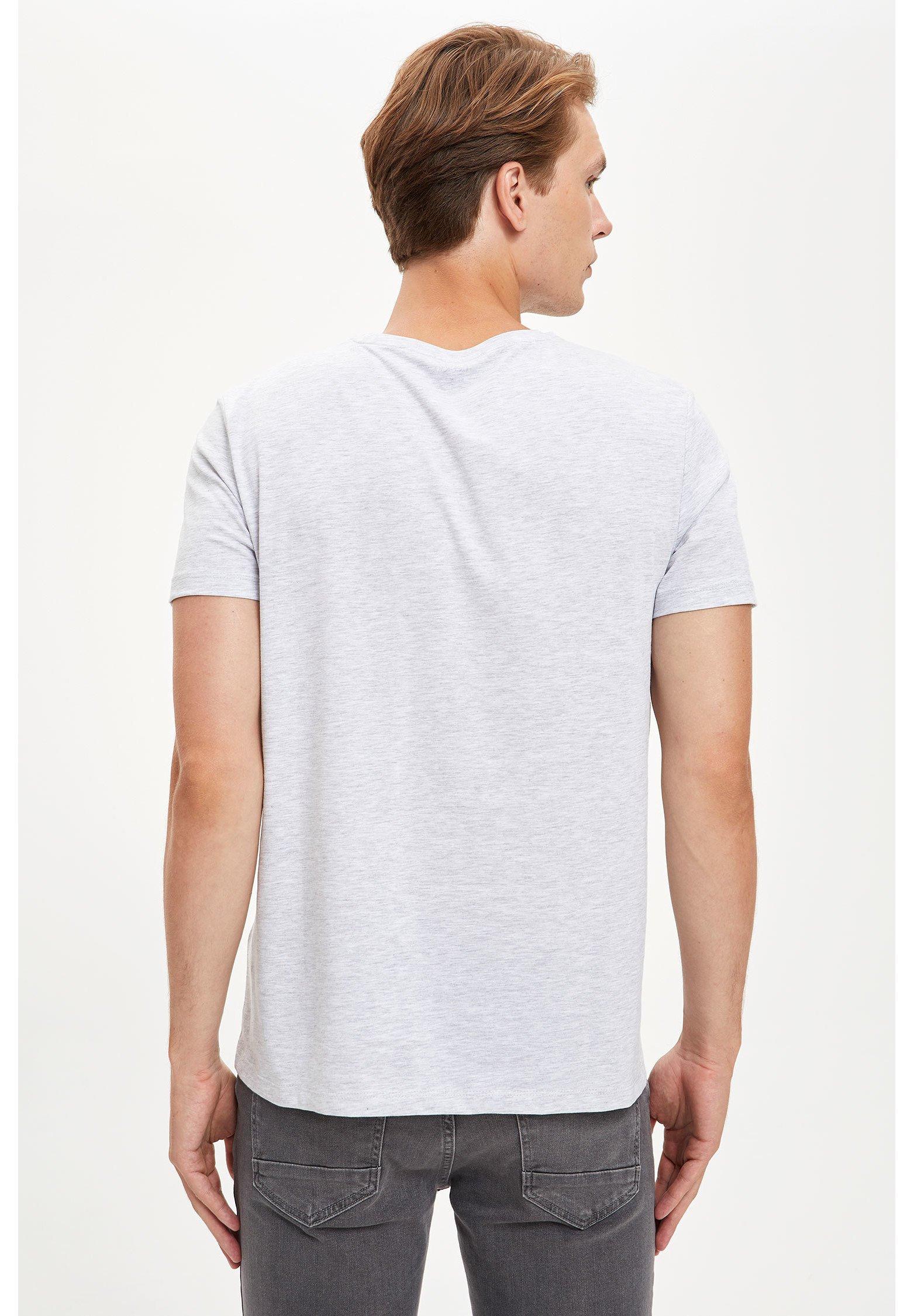 DeFacto Print T-shirt - grey aAAoM