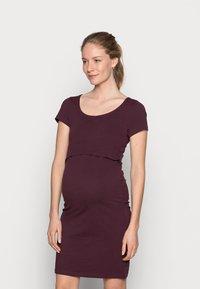 Anna Field MAMA - 2ER PACK NURSING FUNCTION DRESS - Sukienka etui - black/bordeaux - 1