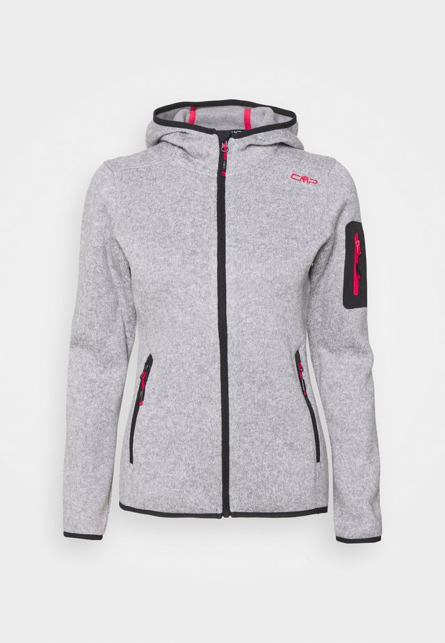 WOMAN FIX HOOD JACKET - Giacca in pile - argento/bianco