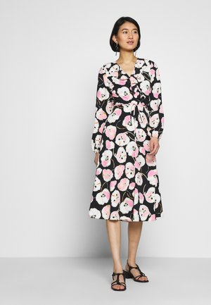 ABSTRACT POPPY PUFF SLEEVE MIDI - Day dress - black