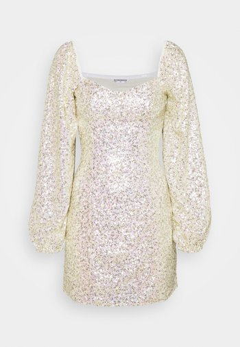 MINI DRESS WITH PUFF LONG SLEEVES - Sukienka koktajlowa - gold/pink