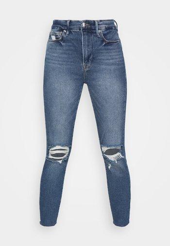 WAIST CROP RAW EDGE - Skinny džíny - blue