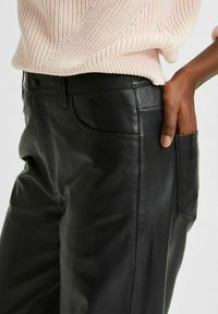Selected Femme - Leather trousers - black - 4
