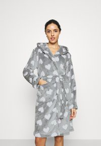 Loungeable - HEART LUXURY HOODED ROBE - Badjas - grey - 0