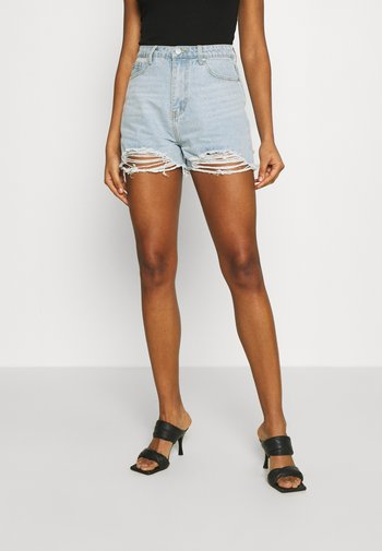 EXTREME FRAY RIOT - Shorts di jeans - light blue