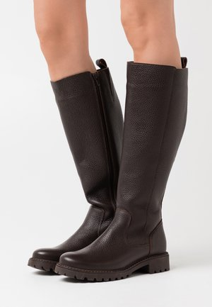 LEATHER - Boots - dark brown
