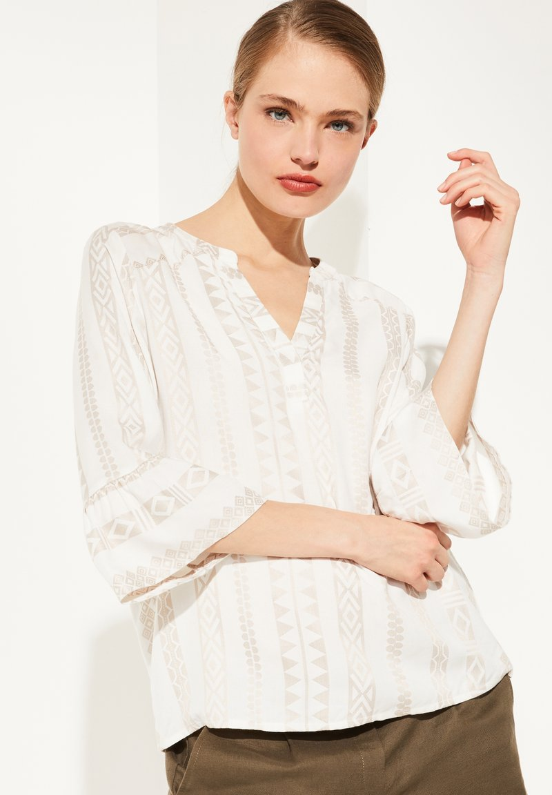 comma - Blouse - beige embroidery
