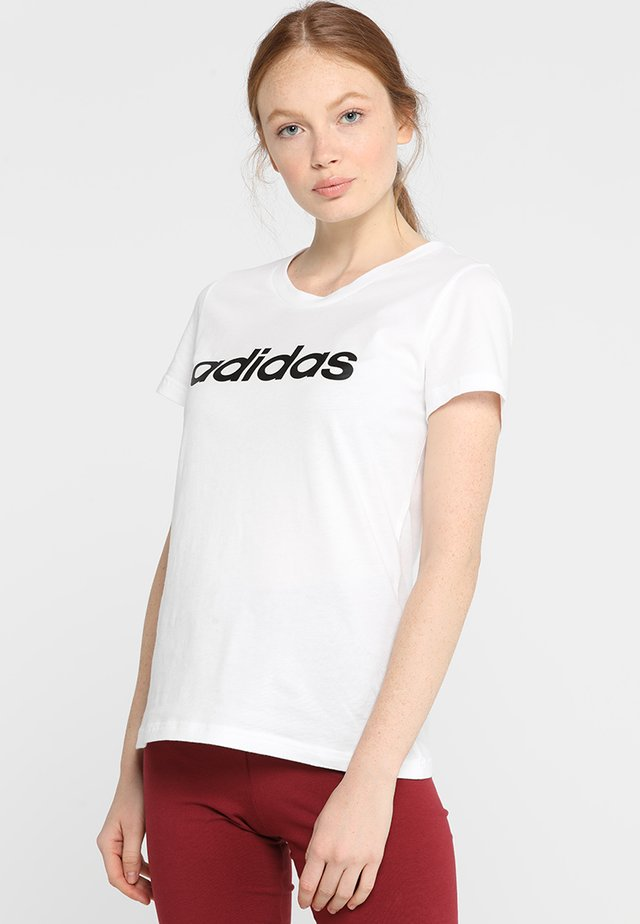 ESSENTIALS SPORTS SLIM SHORT SLEEVE TEE - Triko s potiskem - white/black