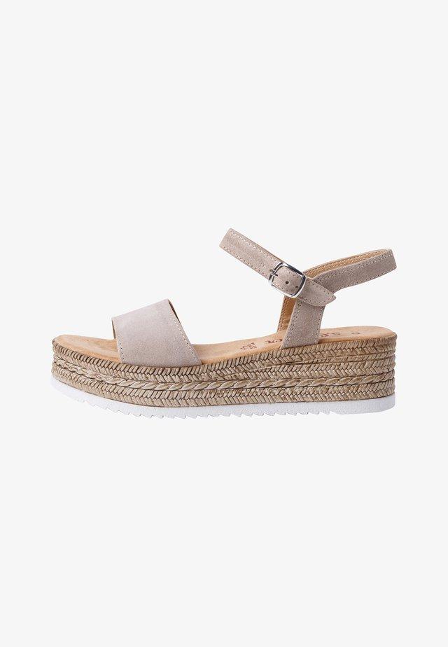 Sandalen met sleehak - taupe