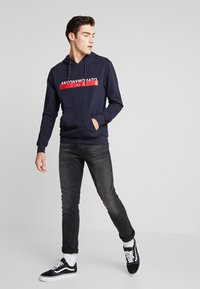 Antony Morato - HOOD DOUBLE COULISSE AND FRONT LOGO PRINT - Hoodie - ink blue - 1