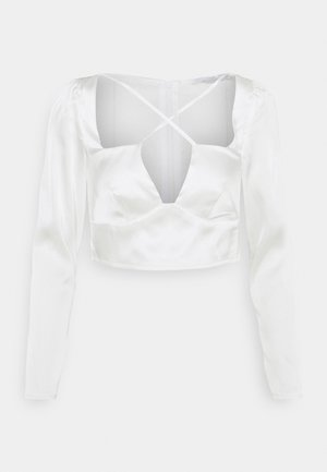CROSS STRAP LONG SLEEVE CROP - Blouse - white