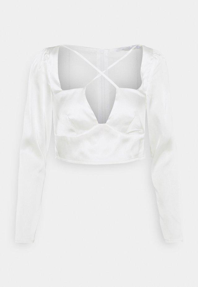 CROSS STRAP LONG SLEEVE CROP - Blouse - white