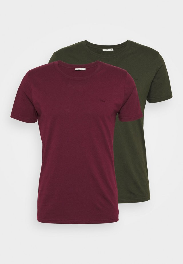 2 PACK - Basic T-shirt - bordeaux/ olive