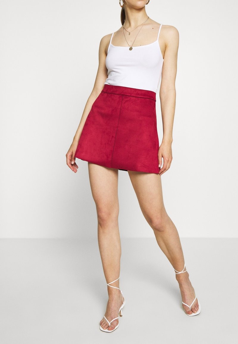 ONLY - ONLLINEA BONDED - A-line skirt - rhubarb