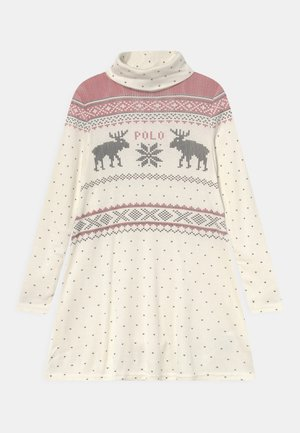 TURTLENECK DAY DRESS - Robe en jersey - cream multi-coloured