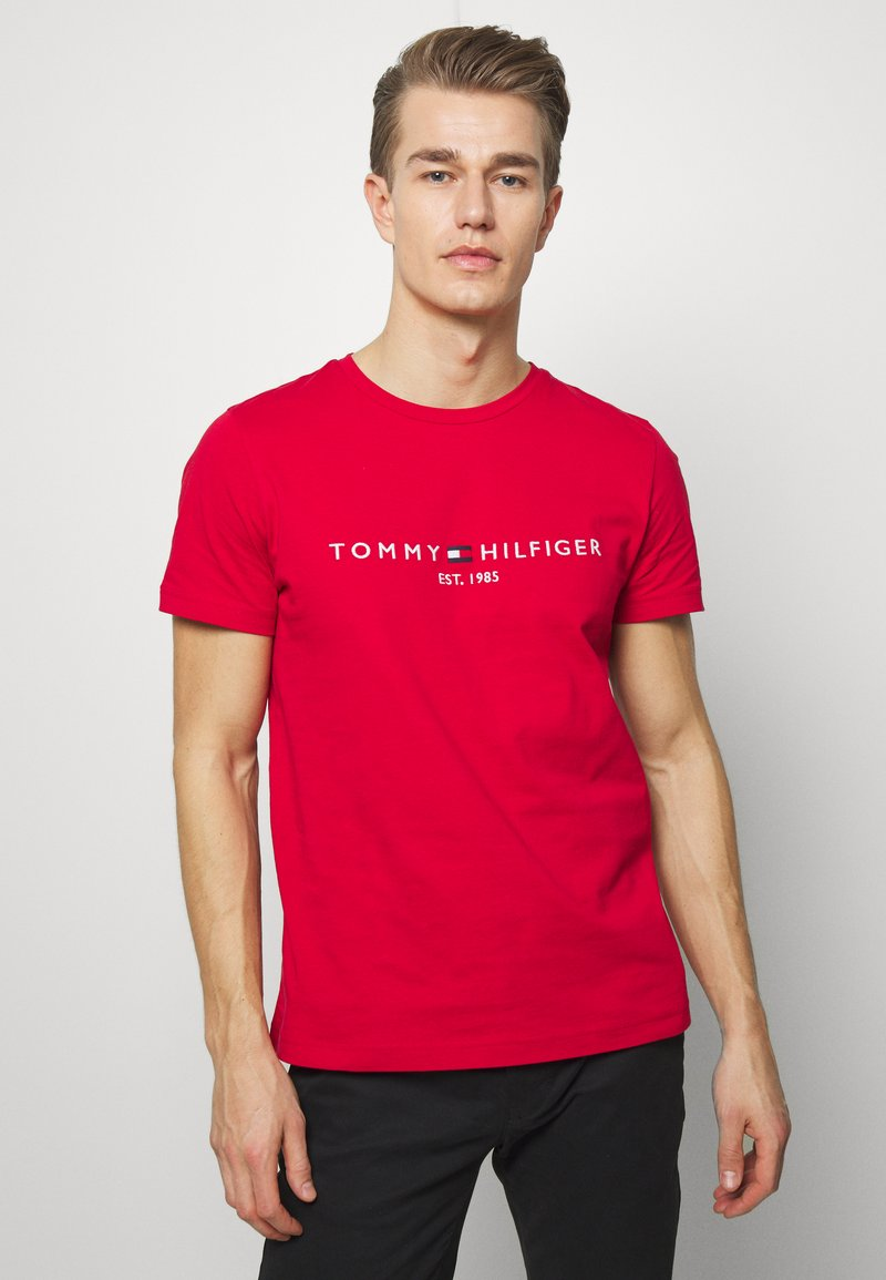 Tommy Hilfiger - LOGO TEE - Print T-shirt - red