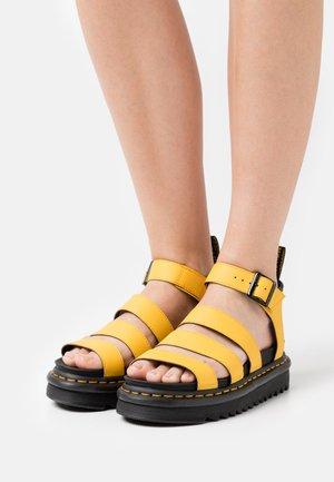 BLAIRE - Korkeakorkoiset sandaalit - yellow hydro
