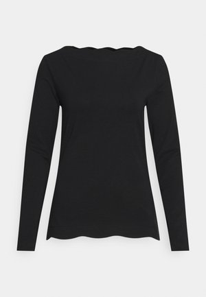 SCALLOP - Long sleeved top - black