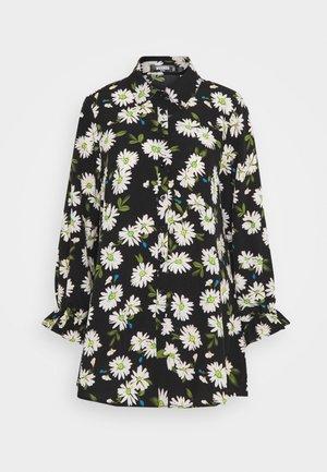 FRILL CUFF DRESS FLORAL - Košilové šaty - black