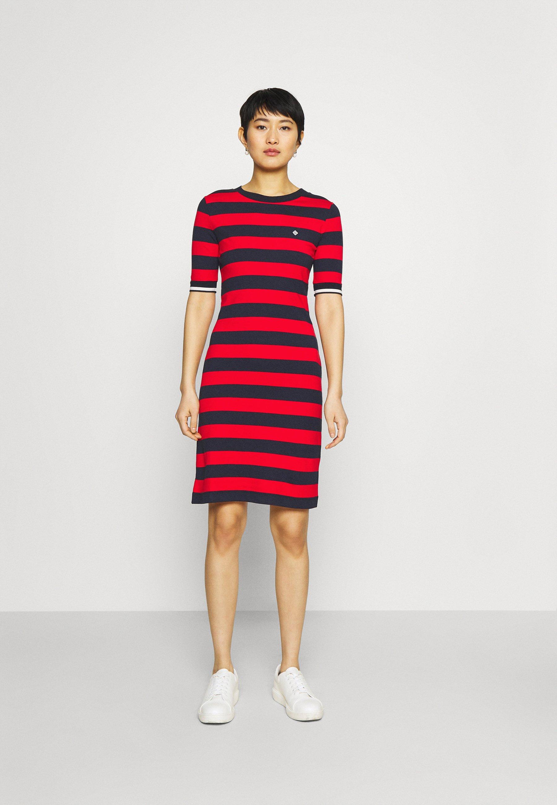 Damen BAR STRIPED DRESS - Jerseykleid
