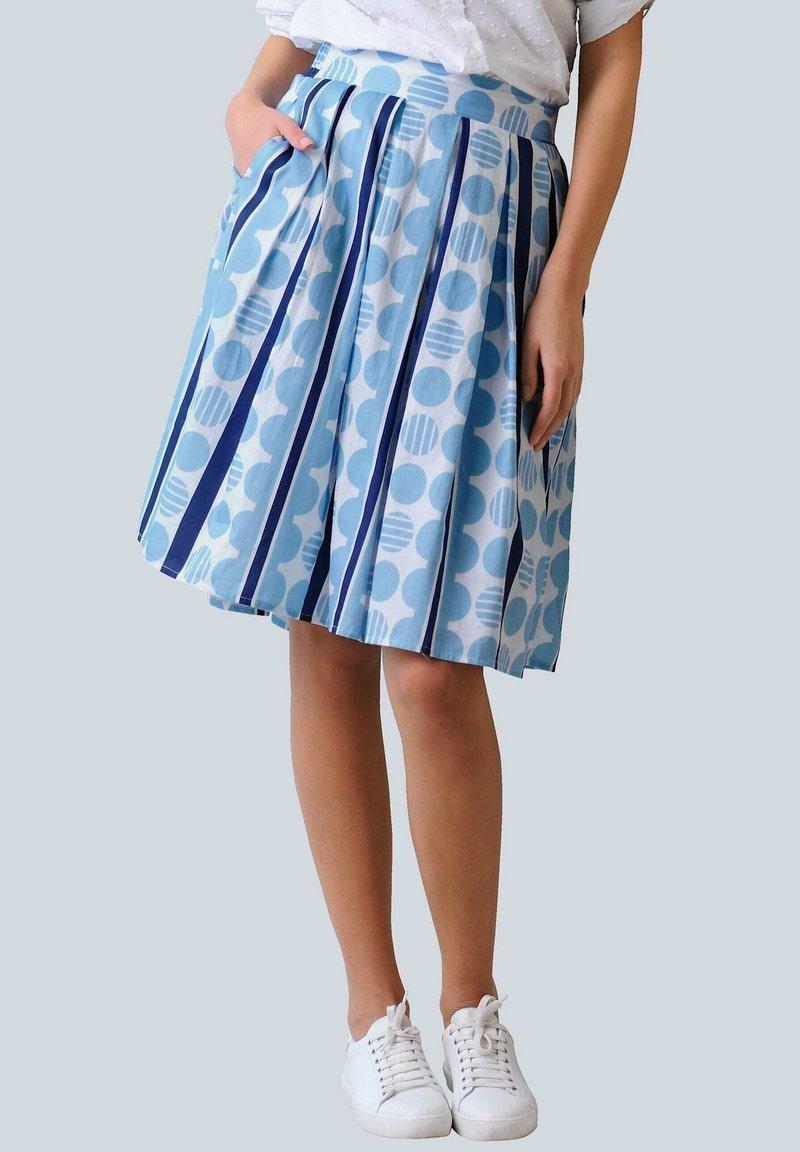 Alba Moda - ROCK - Pleated skirt - blue/white