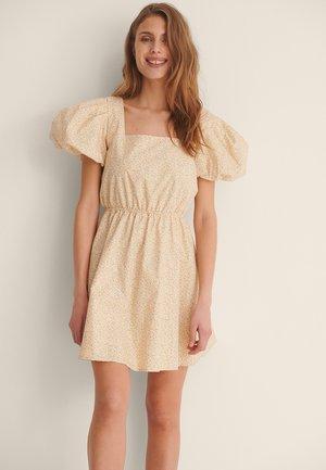 Sukienka letnia - flower light yellow print