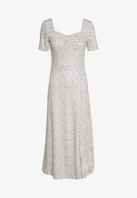 Lost Ink - MONO PRINT FRONT SPLIT SHORT SLEEVE DRESS - Jerseykjoler - off-white, black - 0