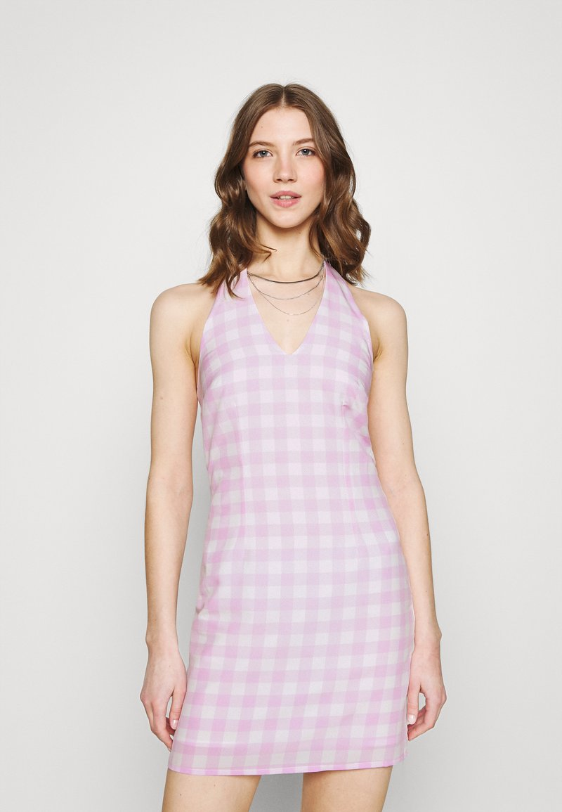 Glamorous - MAYA HALTER TIE-BACK MINI DRESS WITH OPEN BACK AND LOW V-NECK - Day dress - lilac