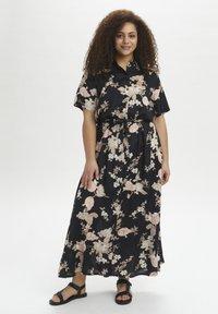 Kaffe Curve - Maxi dress - black /  rose flower print - 0